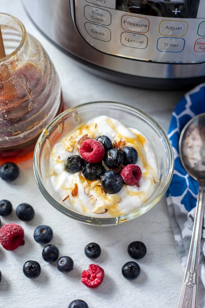 Bowl of Coconut Milk yogurt topped with blueberries and raspberries next to Instant Pot