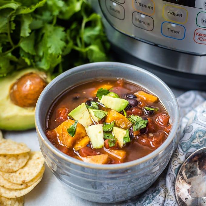 Bowl of Instant Pot Sweet Potato Chii