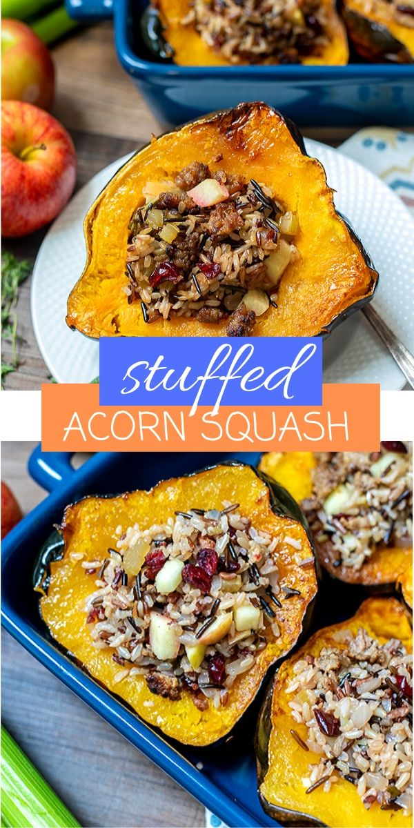 Stuffed Acorn Squash is made with tender roasted acorn squash that has been stuffed to the brim with a delicious mixture of sausage, wild rice, apples, and fresh herbs. This recipe for Stuffed Acorn Squash makes for a hearty side dish, delightful main course, or a show-stopping holiday side.