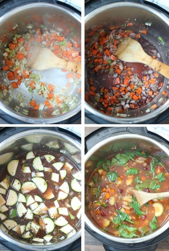 Collage showing steps to make Instant Pot minestrone soup