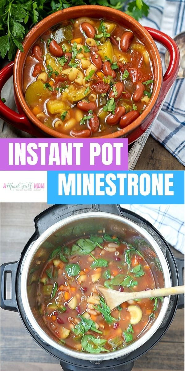This is the BEST recipe for Minestrone Soup! Made in minutes and with fresh ingredients, this simple Instant Pot Minestrone Soup is made with 4 secrets that make it out of this world good! It is a MUST make recipe!