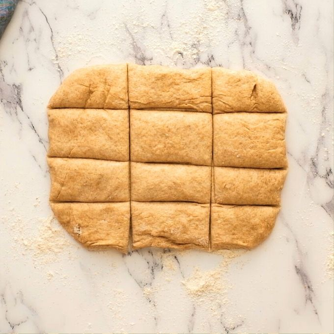 Wheat dough shaped into 12 rectangles