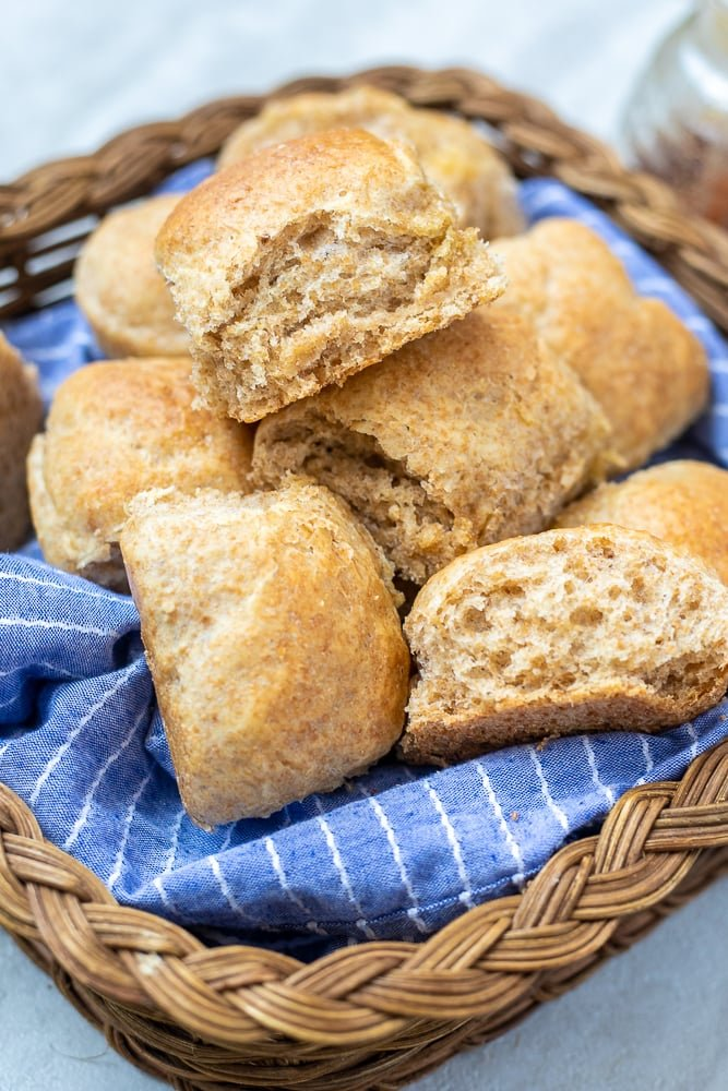 Basket of Whole Wheat Rolls