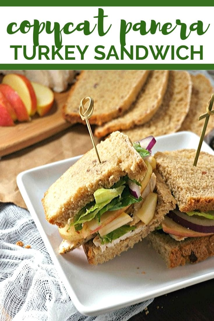 This Copycat Panera Roasted Turkey, Apple, and Cheddar Sandwich is the BEST turkey sandwich ever. Slices of roasted turkey, sweet apples, and sharp cheddar cheese are piled high on homemade cranberry walnut bread with a tangy honey mustard. Perfect use for leftover turkey or rotisserie chicken even!