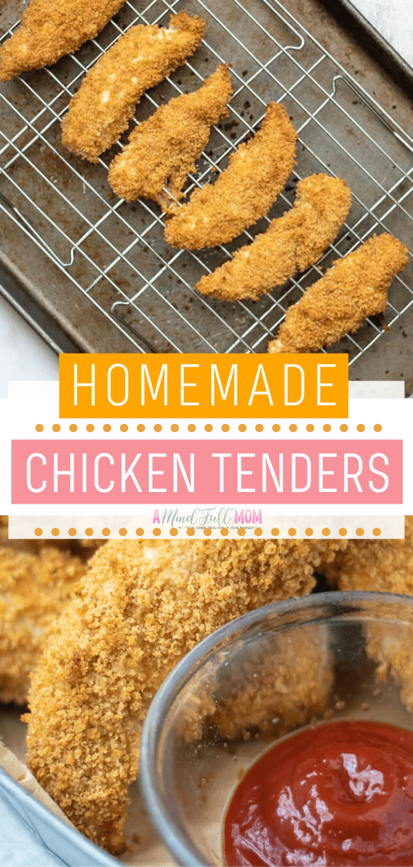 The best Homemade Chicken Tenders! This quick and easy healthy meal bakes up crispy with Panko bread crumbs. A family-friendly healthy recipe in less than 30 minutes. Delight everyone with these tasty chicken strips!