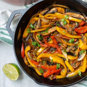 Skillet with peppers, onions, and portabellos