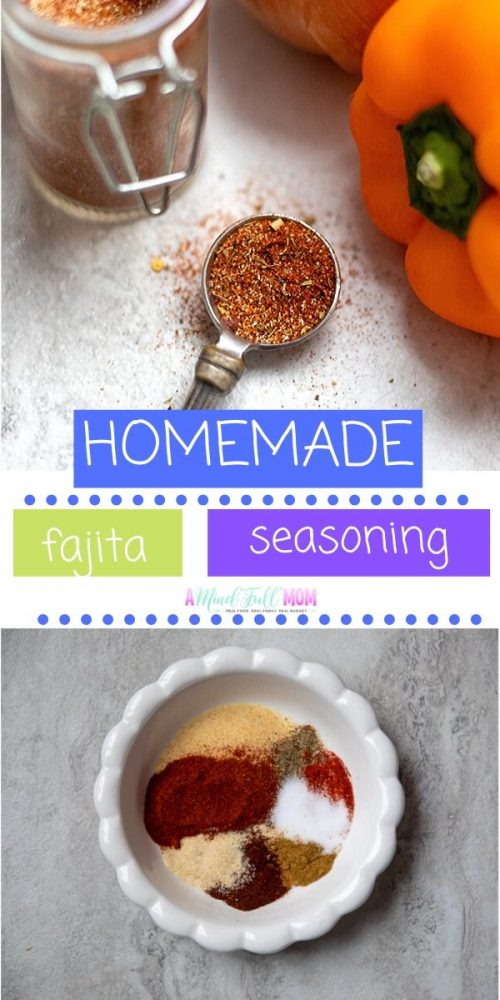 It is so easy to make your own Fajita Seasoning right at home! With just a few staple spices, you can whip up Homemade Fajita Spice Blend in seconds! This seasoning blend makes the most delicious homemade fajitas, but is also a great way to add flavor to many other dishes. By making your own homemade spice blend, you skip the fillers, sugar, sodium, and MSG often added to store bought brands.