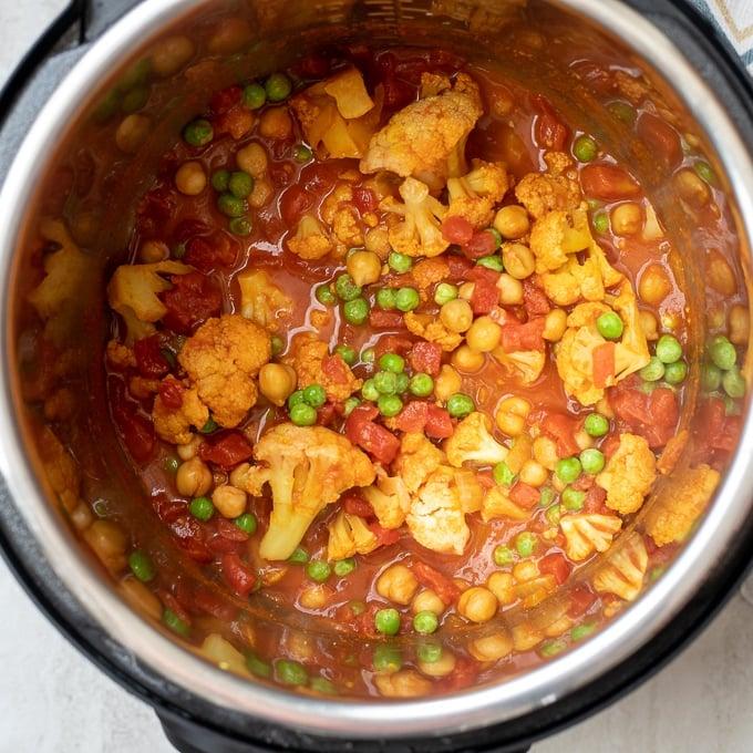 Vegan Tikka Masala inside Instant Pot
