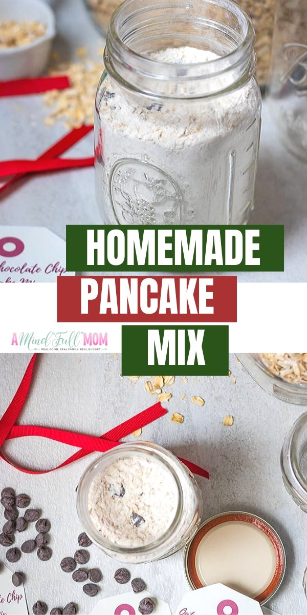 With homemade pancake mix, delicious from-scratch pancakes are only minutes away! This decadent Oatmeal Chocolate Chip Pancake Mix is perfect to stock your pantry with, but also makes a great holiday or hostess gift. Simply print off the included gift tags, attach a ribbon and you have a DIY Gift that anyone would love to receive.