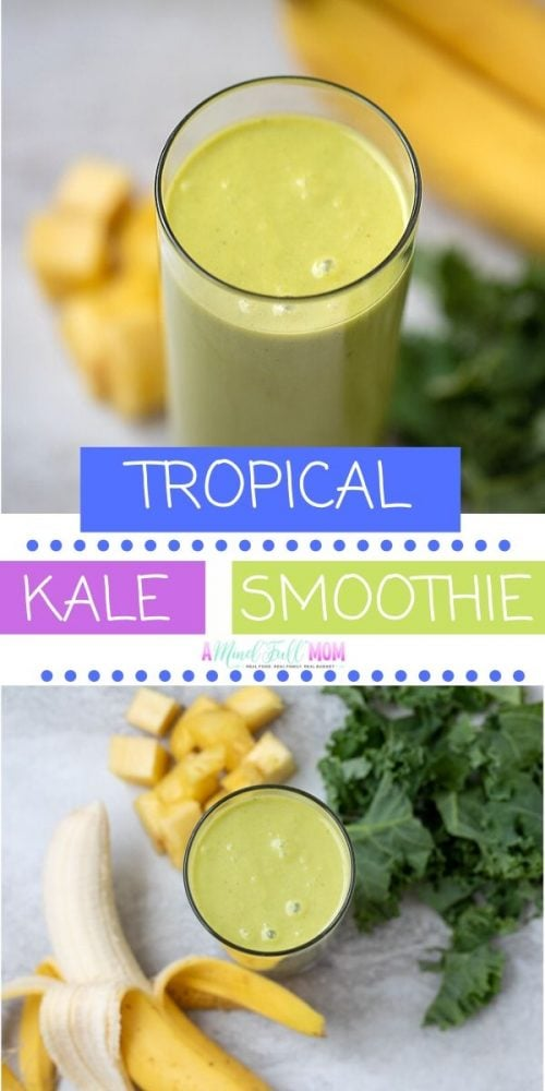 Drinking your greens has never been more delicious! This Kale Smoothie, made with pineapple, coconut milk, bananas, and kale, takes on a tropical vibe that goes down easy! This is a healthy smoothie that is dairy free, plant based, and vegan friendly--but most importantly delicious!