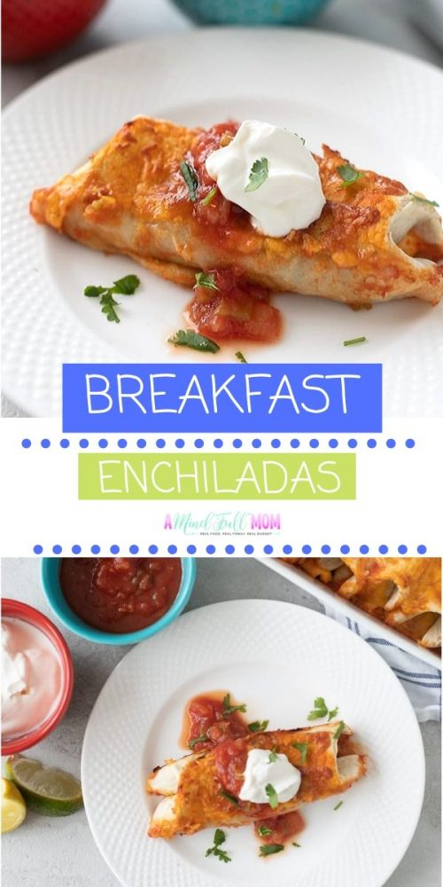 Talk about flavor! These Breakfast Enchiladas will wake you and your taste buds up! Made with spicy sausage, beans, eggs, and cheese--these Breakfast Enchiladas are a creative breakfast casserole or brunch recipe and are perfect for when entertaining for brunch.