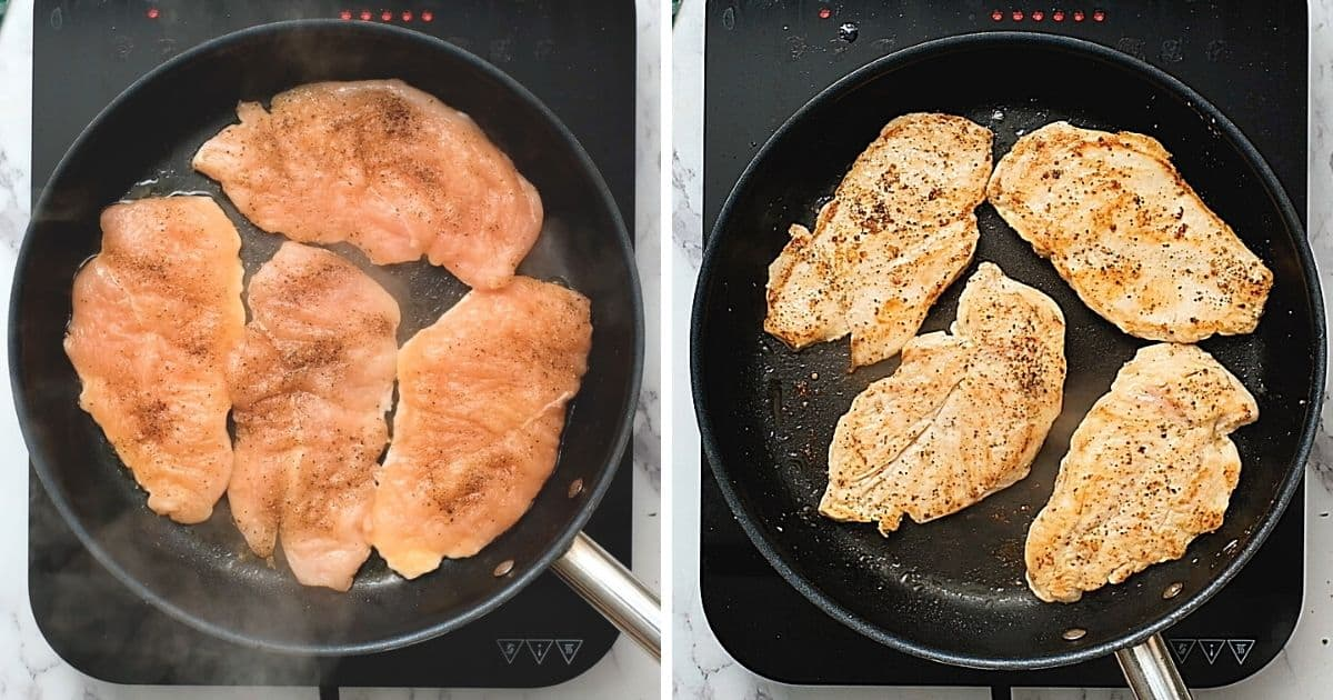 Seared chicken in saute pan.