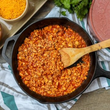Skillet with tofu taco meat with seasonings
