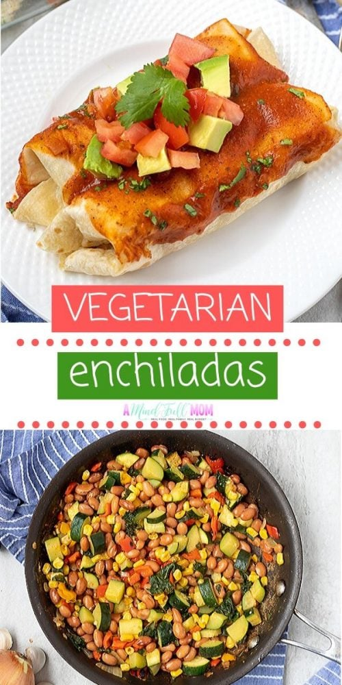 No one will miss the meat in these Vegetarian Enchiladas! Made with zucchini, kale, corn, beans, peppers, and onions, these Plant Based Enchiladas are bursting with flavor and nutrition. This is one delicious meatless Mexican recipe that can be enjoyed any night of the week and is perfect for serving to those with dairy allergies and is vegan friendly.