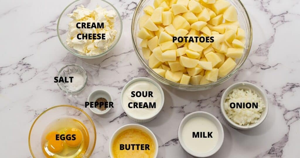 Ingredients for Mashed Potato Casserole labled on counter.