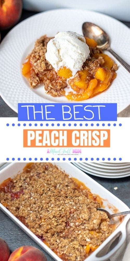 Peach Crisp is an easy and delicious dessert made with fresh peaches and buttery, crispy oat topping. This simple recipe for peach crisp is one of the best ways to enjoy summer peaches, but can be made with frozen or canned peaches to enjoy this southern dessert all year long.