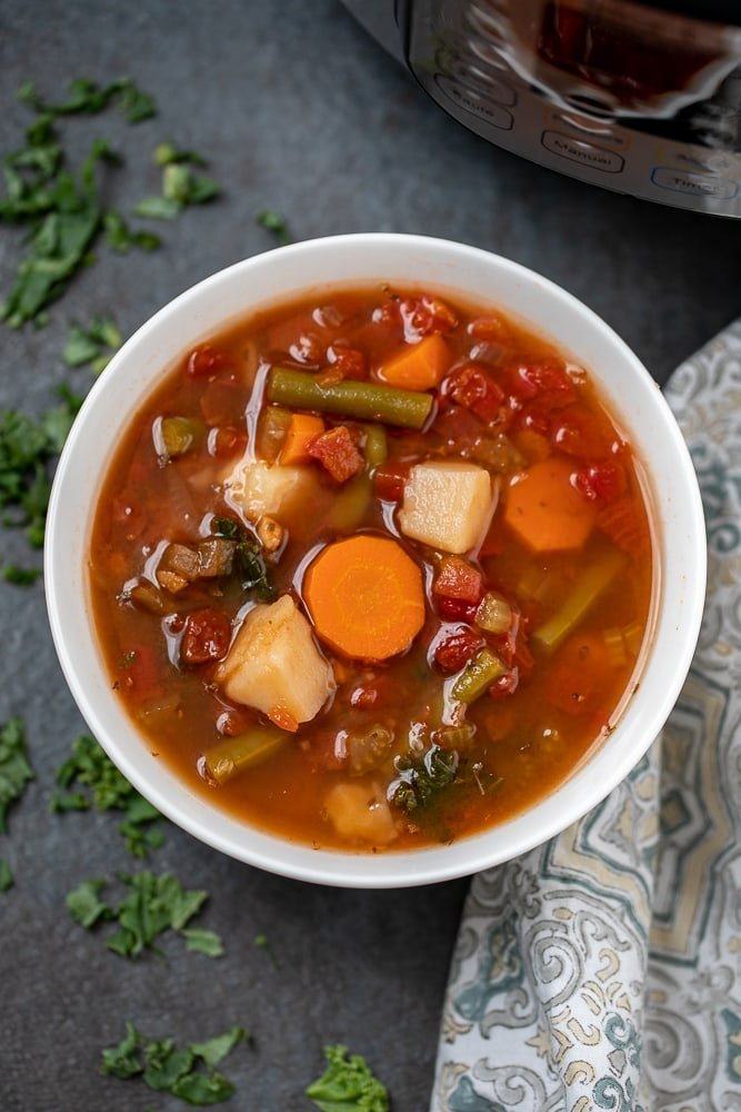 White Bowl with Veggie Soup