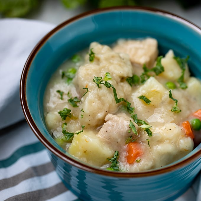 Bowl of Instant Pot Chicken and Dumplings
