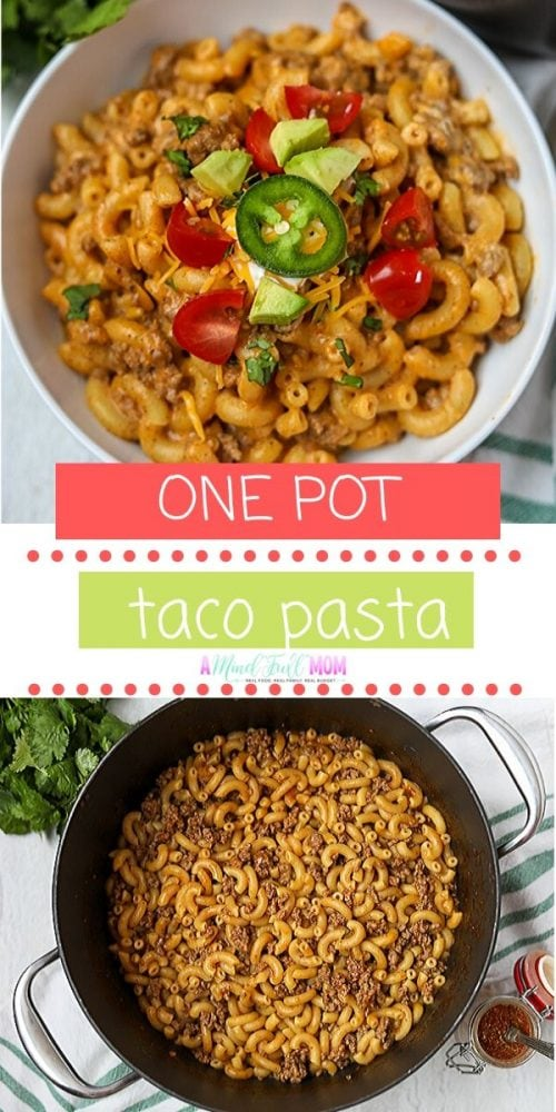 Tacos and pasta combine to create a creamy, cheesy, comforting meal that families love. This Taco Pasta is made in one skillet and in less than 30 minutes, making a perfect dinner recipe for busy weeknights! This simple ground beef recipe makes a family dinner favorite recipe.