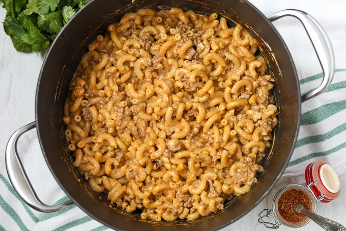 Taco Mac and Cheese in skillet