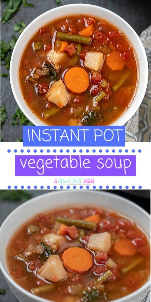 Instant Pot Vegetable Soup is a classic recipe for Veggie Soup--made in the Instant Pot. This soup is hearty and full of veggies like carrots, green beans, celery, spinach, and potatoes . This soup has a few secrets to make it out of the world flavor and is ready in under 40 minutes!