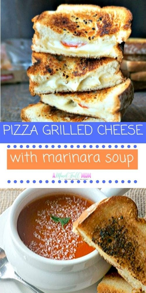 This Pizza Grilled Cheese is a fun spin on classic grilled cheese. Made with all your favorite pizza toppings and toasted with a garlic infused oil, this easy grilled cheese recipe is made complete with a marinara soup! This epic easy recipe is a perfect spin on pizza night and kids LOVE it!