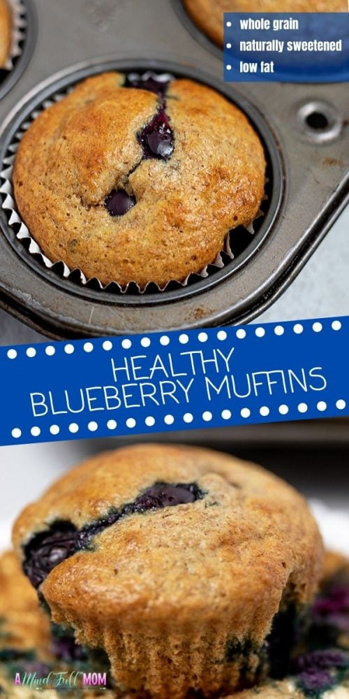 You won't believe these Blueberry Muffins are actually healthy! Packed with whole grains and bursting with fresh blueberries, these Whole Wheat Blueberry muffins are tender, moist, and perfectly sweet. There is a secret ingredient in these healthy muffins that keep them low fat, dairy free, and DELICIOUS!!!