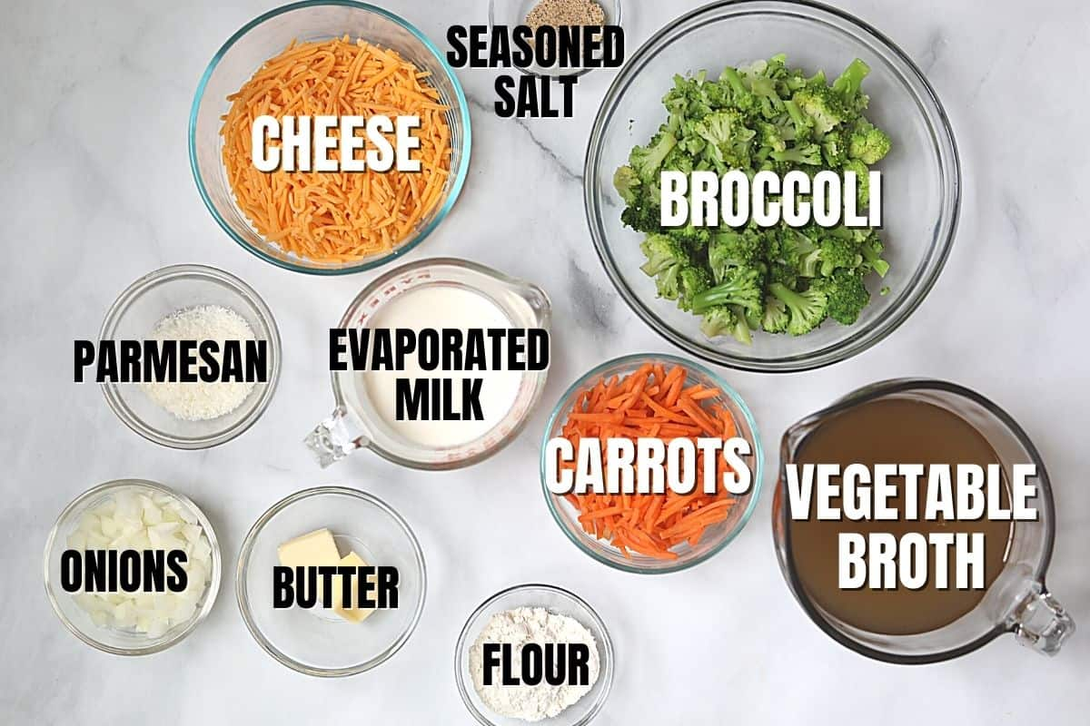 Ingredients for Broccoli Cheddar Soup labeled on white counter.