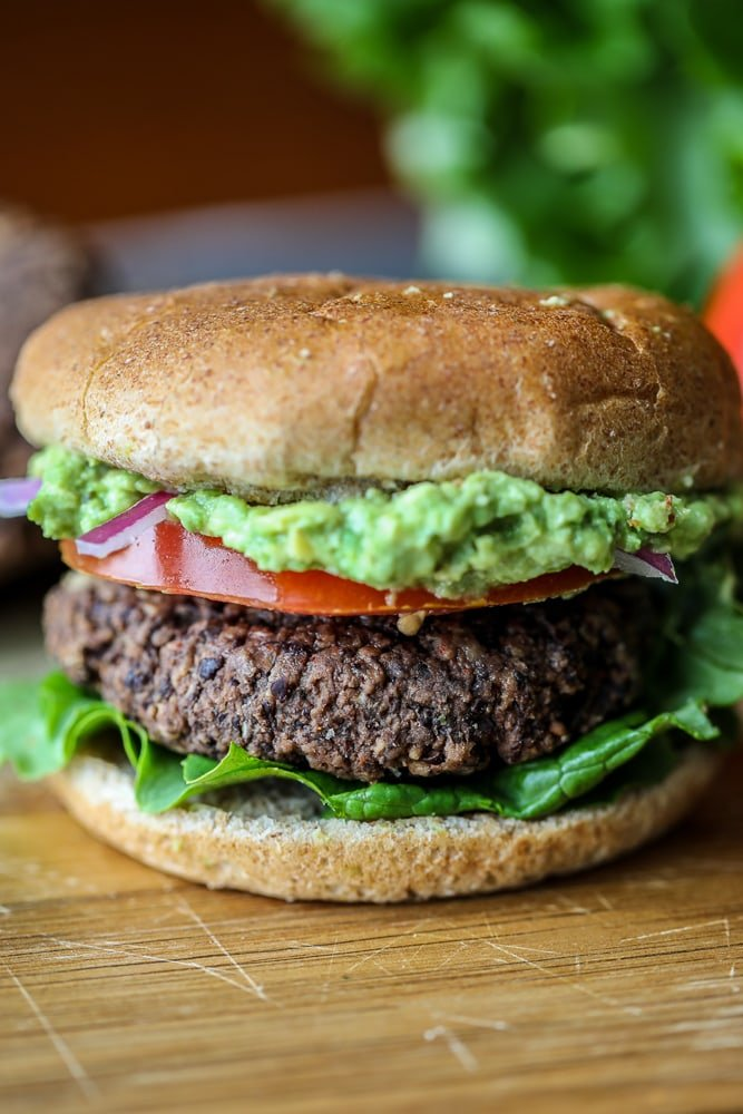 Black Bean Burger with Avocado on cutting board