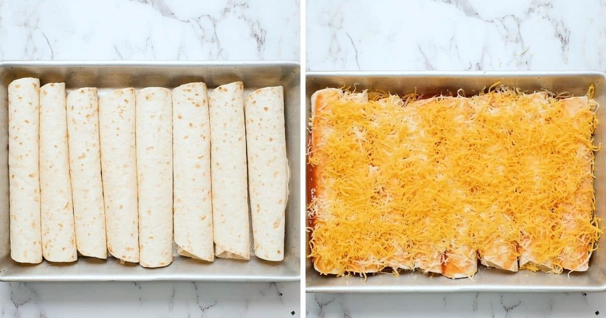 Side by side pans with chicken enchiladas.