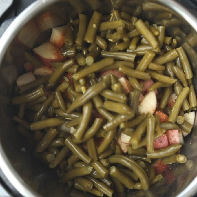 Sausage, Potatoes, and Green Beans layered in instant pot