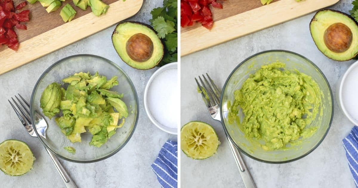 Side by side pictures of Mashed Avocado in mixing bowl