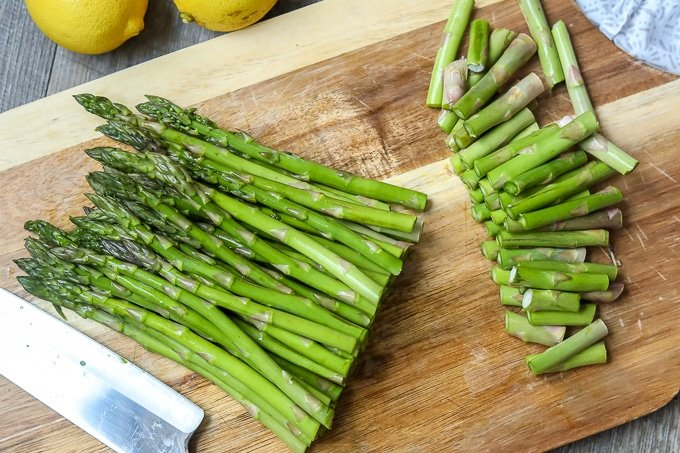 Trimmed Asparagus on cutting board