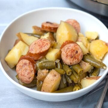 Kielbasa, Potatoes, and Green Beans in white bowl