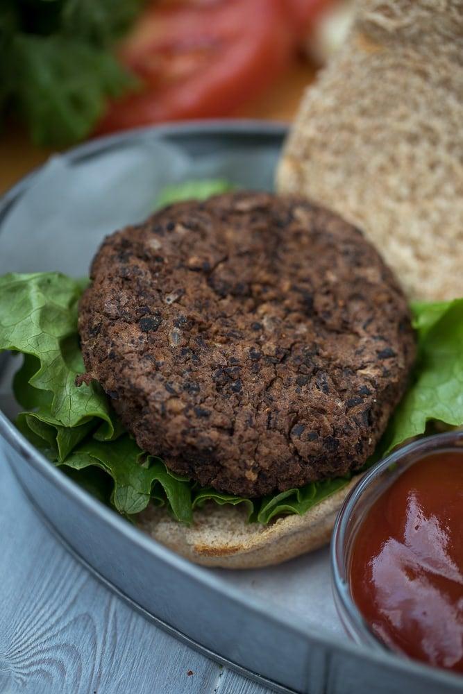 Black Bean Patty on Lettuce on Whole Wheat Bun