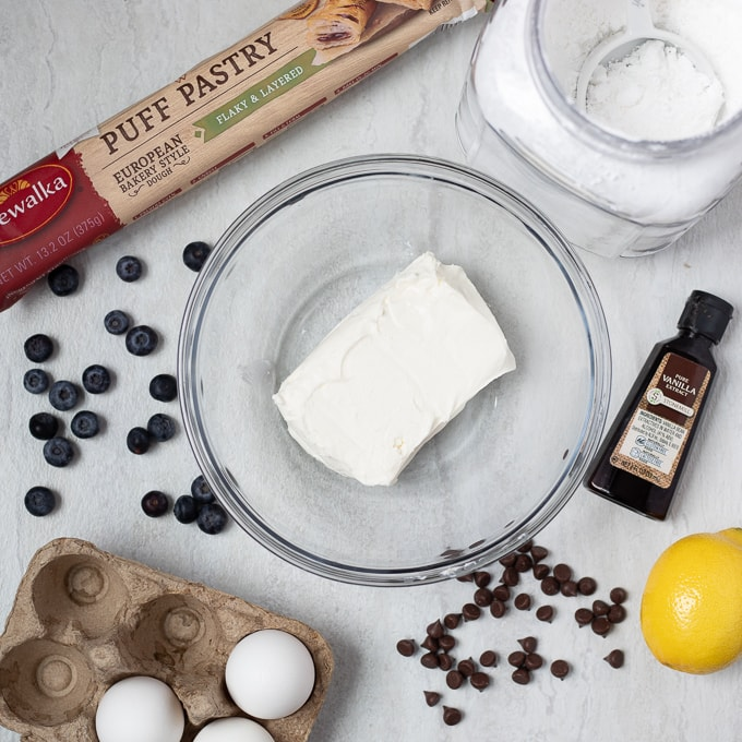 Ingredients for Puff Pastry Cream Cheese Danish