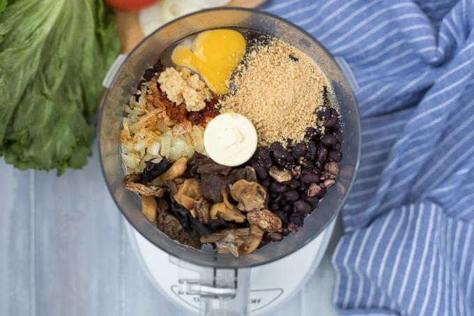 Ingredients for black bean burgers in food processor