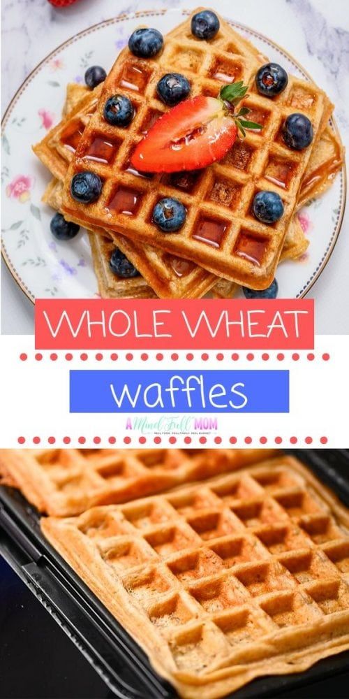 These 100% whole wheat waffles are super light and fluffy, made with no added sugars, and yet so tender and delicious! They make a healthy breakfast option that is freezer-friendly--perfect to make a big batch and have on hand for busy mornings.