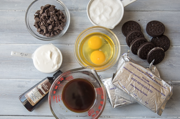 Ingredients for Chocolate Cheesecake
