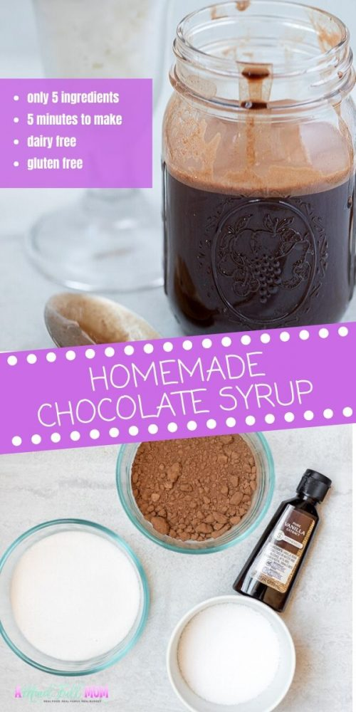 It is so incredibly easy to make homemade chocolate syrup! With only 5 ingredients and 5 minutes of work, you can have a delicious chocolaty syrup--minus the high fructose corn syrup and preservatives! Replace the famous brown bottle of chocolate syrup with this homemade version and use to top ice cream, yogurt, or fruit, or to make your own homemade chocolate milk. Because this recipe is dairy free and gluten free, everyone can enjoy this sweet homemade syrup.
