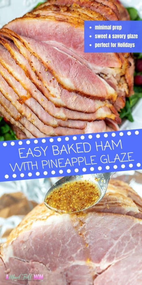 Transform your ham into something spectacular with a pineapple brown sugar glaze. This Simple Glazed Ham is perfect for any holiday dinner or just a special weekend meal.This recipe for baked ham is one of the easiest recipes for ham. It is baked low and slow in the oven with a sweet and savory glaze that gives this ham the most incredible flavor.
