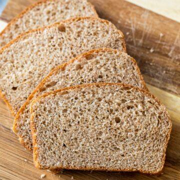 Whole Wheat sliced on cutting board
