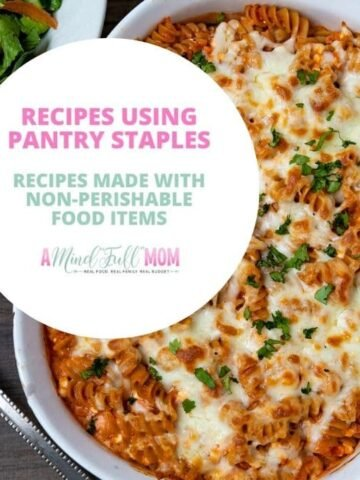 Pasta with Text Overlay with Recipes using pantry staples