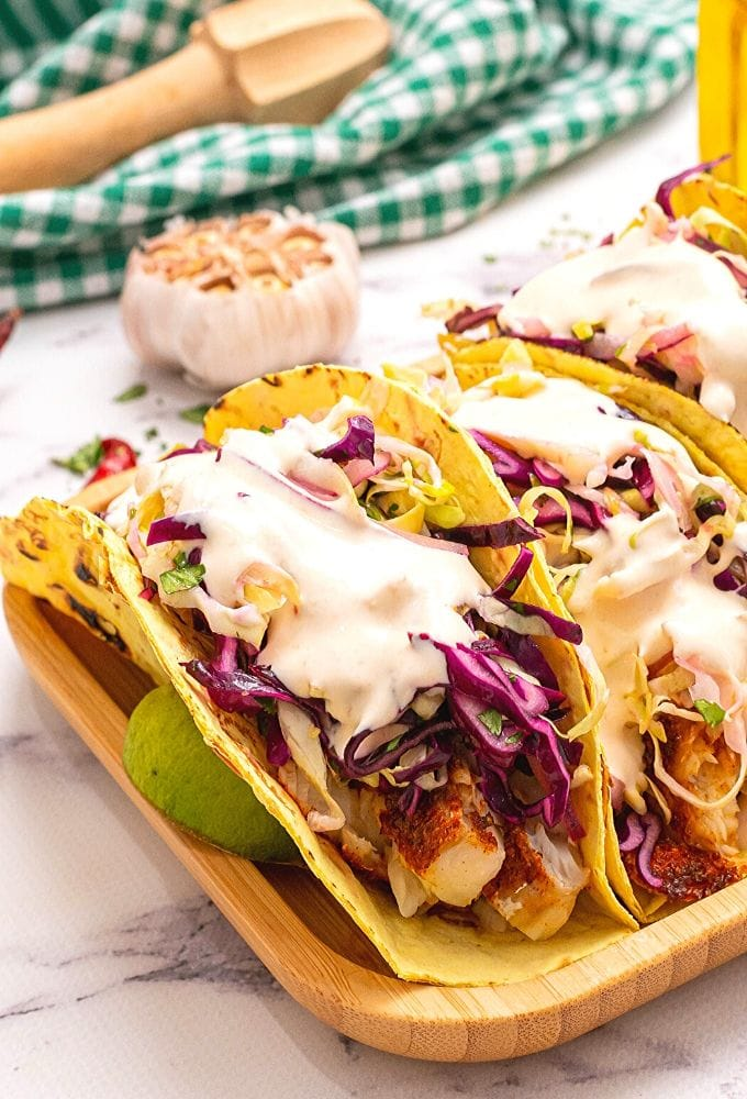 Fish Tacos with Slaw and Chipotle Sauce
