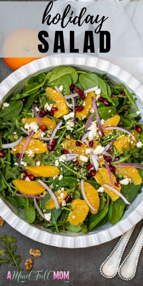 A simple mixed greens salad adorned with orange segments, red onions, pomegranate seeds, feta, and dressed with a simple champagne vinaigrette, this salad is simply perfect for the holidays!Serve with your Christmas Dinner for a seasonal winter salad will compliment your holiday meal perfectly. This salad is light, refreshing, and full of flavor.