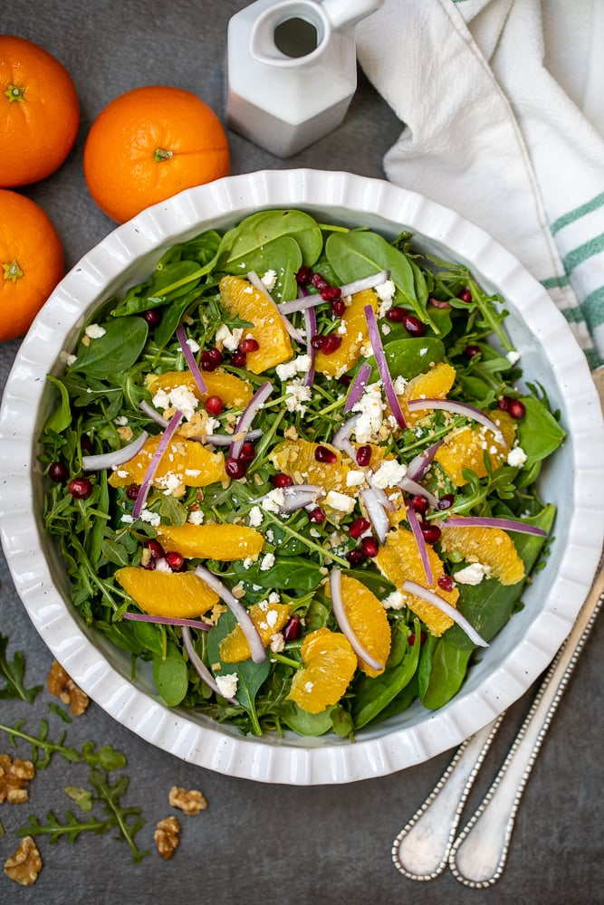 Holiday Salad in white bowl with orange segments