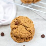Chocolate Chip Cookie next to wire rack