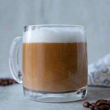 Latte in clear mug