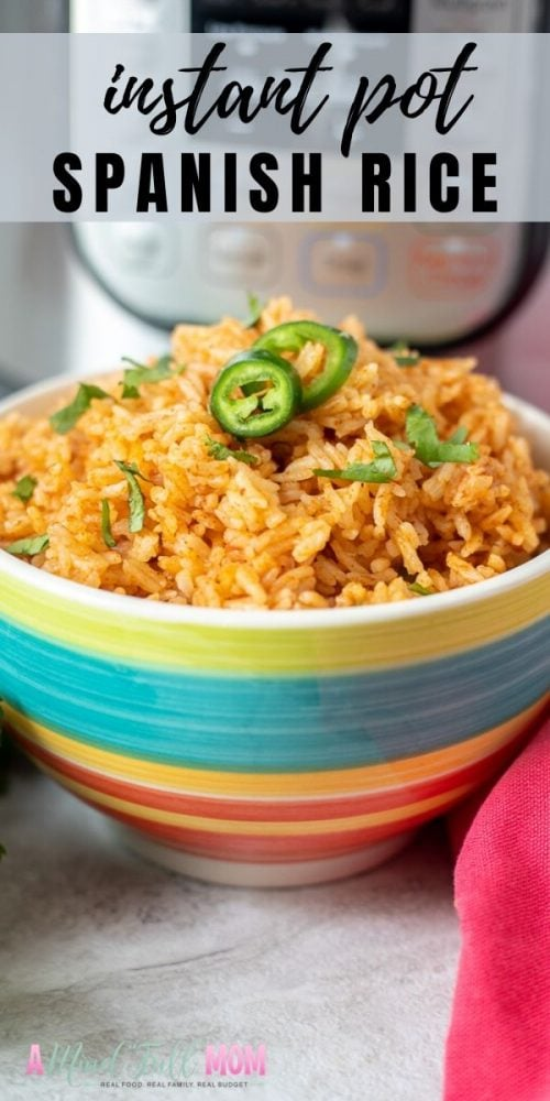 Instant Pot Spanish Rice, otherwise known as Mexican Rice, tastes like the rice from an Authentic Mexican restaurant. Full of flavor and perfectly cooked, this recipe is made with pantry staples, extremely easy to make, affordable, and incredibly delicious. This is the perfect side dish to any Mexican entree and also makes a delicious base for a burrito bowl.