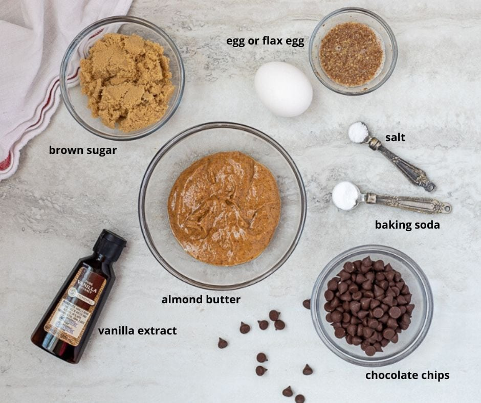 Ingredients for Almond Butter Chocolate Chip Cookies